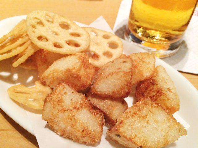 長芋フライとレンコンチップス&ビール